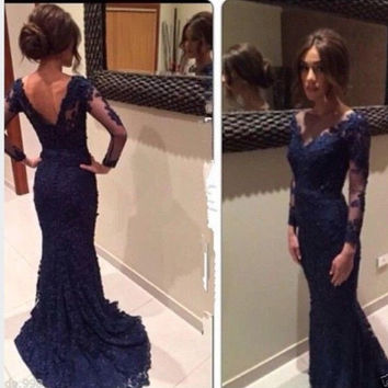 Gorgeous Navy Blue Lace Prom Dresses, V neck Long Sleeves Column Evening Dresses, Sexy Women Low Back Sheath Formal Dresses, Delightful See Through Wedding Dresses 2015