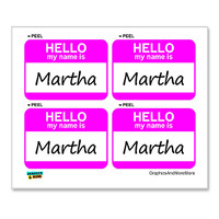 Martha Hello My Name Is - Sheet of 4 Stickers