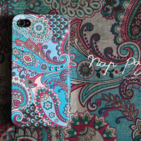 Apple iphone case for iphone iphone 5 iphone 4 iphone 4s iPhone 3Gs  : Abstract vintage blue and pink floral pattern