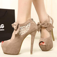 Sexy Korean Women's Casual Bowknot Lace Fish Mouth High Heel Platform Shoes New