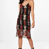 Boutique Dia Embroidery Midi Slip Dress | Boohoo