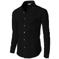 Doublju Mens Dress Shirts With Gold Pointed Collar And Gold Button Detail (KMTSTL092)