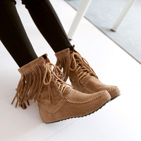 Boho Faux Suede Lace up Fringe Oxfords Moccasin Ankle Booties Boots