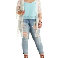 Plus Size Ivory Embroidered Mesh Fringe Kimono by Charlotte Russe