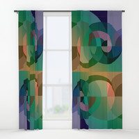 Abstract Sea Sunset Window Curtains by edrawings38