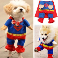 Pet Puppy Cat Dog Cotton Clothes Costume Superman Suit Size XS/S/M/L/XL = 1929979140