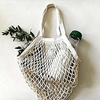 Chris.W Portable/Reusable/Washable Cotton Mesh String Organic Organizer Shopping Handbag Long Handle Net Tote - Pack of 4(Grey Blue/Black/Beige/Pink)