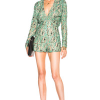 Alessandra Rich Embroidered Romper in Green | FWRD