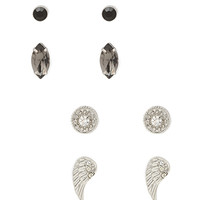 FOREVER 21 Ethereal Stone Stud Set Silver/Black One