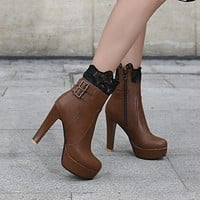 Women Lace Buckle Zipper High Heels Ankle Boots 3889