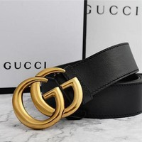 """GUCCI"" Hot Sale Fashion Women Men Smooth Buckle Leather Belt +Gift Box Black I/A"