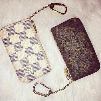 LV Louis Vuitton fashion trendy women canvas key holder F