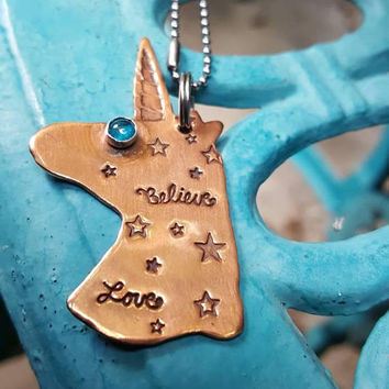 Unicorns I Believe, copper pendant, Whimsical pendant, BFF gift, Graduation gift, Inspirational Gift, Believe in Unicorns