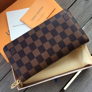 Louis Vuitton LV Classic Long Zipper Wallet Fashionable Men and Women Clutches Coin Purses Card Holders Bag