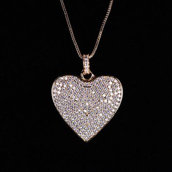 Ladies Full CZ Pave Love Heart Shaped Pendant Necklace