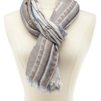 Geometric Aztec Woven Scarf by Charlotte Russe - Brown Combo