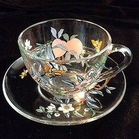 Beautiful French ARCOROC Glass Cup & Saucer Butterflies and Flowers