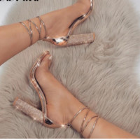Formal crystal design ankle lace up straps with chunky square heels