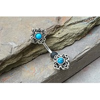 Turquoise Filigree Belly Ring
