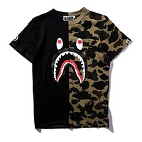 Bape Tide brand fashion personality color matching camouflage cartoon shark short-sleeved T-shirt F/A