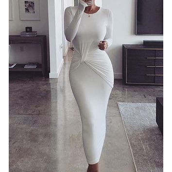 New fashion long-sleeved round neck pleated slim fit hip fashion dress