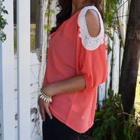 SZ SMALL Lily Valley Mango Lace Cutout Shoulder Top