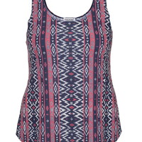Plus Size - Ethnic Patterned Lightweight Tank - Multi
