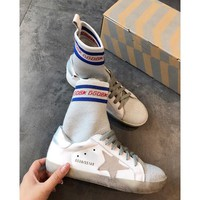 Golden Goose Ggdb High End Sneakers In Leather With Sock Insert, Silver Star - Best Online Sale