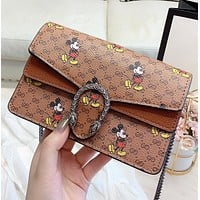 Hipgirls GUCCI & Disney New Fashion More Letter Mouse Print Shopping Leisure Shoulder Bag Crossbody Bag