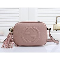 Gucci new double GG large letters embossed ladies fashion one-shoulder messenger bag