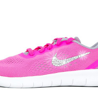 Girls' Nike Free RN - Crystallized Swarovski Swoosh - Big Kids' (3.5y-7y) - Pink