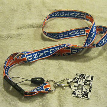 British England Red White Blue Lanyard for ID Holder & Mobile Devices Keychain