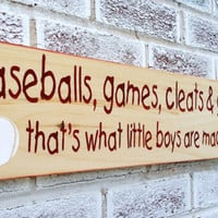 "Baby Boy Nursery, Baseball nursery art, little boy's room, sports ""Baseballs, games cleats & gloves, that's what little boys are made of"""