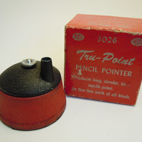 Tru Point Pencil Pointer   Vintage Sharpener and Box Cast Iron Model 3026 Frederick Post   Drafting Engineers Artists Draftsmen Tru-Point