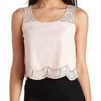 SCALLOPED & STUDDED CHIFFON CROP TOP