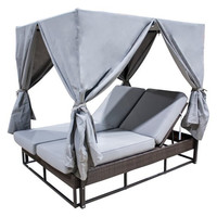 Atlantis Patio Daybed with grey curtains