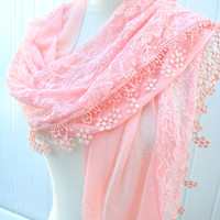 Peach  Lace Scarf Women Scarves Braidesmaid Gift Fall Fashion - By PiYOYO