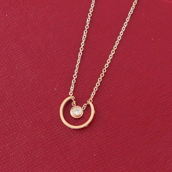 Gift New Arrival Jewelry Shiny Stylish Simple Design Hollow Out Diamonds Titanium Necklace [6411772228]