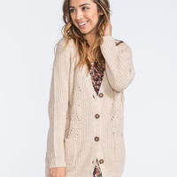 Full Tilt Cable Knit Womens Cardigan Taupe  In Sizes