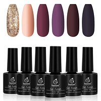 Beetles Fall Gold Glitter Gel Nail Polish Set - 6 Colors Red Purple Gel Polish Kit Full Maroon Nail Gel Polish Set, Soak Off UV LED Nail Gel Required, 7.3ml Each Bottle Gel Nail Art Christmas Gift Box