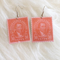 Red Monroe Paper Stamp Earrings  - Handmade, Paper Earrings, US Postage, Cathedral,  Spanish Postage, 10 Cents, Postage Jewelry, Dangle