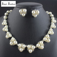 jiayijiaduo Bridal Wedding silver-color Jewelry Sets for women Simple Imitation Pearl Jewelry Crystal Necklace Earrings  Sets