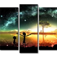 Rick and Morty Stars Night Eve Wall Art Print Modern Home Decor Picture