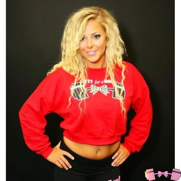 Red Cropped Leopard Barbell Pullover