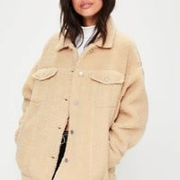 Missguided - Cream Oversized Borg Trucker Jacket