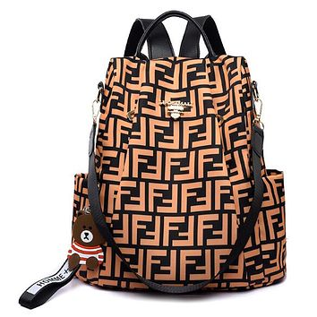 FENDI New Women Men Casual Shoulder Bookbag School Bag Backpack Brown