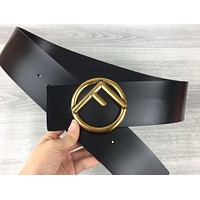 Fendi new simple ring letter men and women smooth buckle belt black