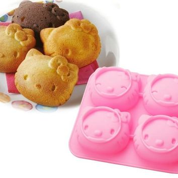 Kitchen DIY Creative 3D DIY Hello Kitty Silicone Cake Mould,Handmade Tool Soap Mold,Kids Christmas Bakeware A982