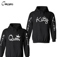 CWLSP King Queen Letter Printed Lovers Couple Hoodies Sweatshirt Unisex Crown Hooded Black Pullovers  Harajuku Clothes QZ1914
