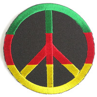 """Rasta Peace Sign CND Hippy Iron Sew On Embroider Patch 2.9""""/7.5cm"""